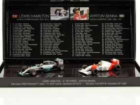 2-Car Set 41. Career victory formula 1 Hamilton (2015) and Senna (1993) 1:43 Minichamps