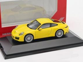 Porsche 911 (991) Carrera 4S Coupe gelb 1:43 Herpa