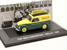 Fiat 500C Furgoncino Riello Baujahr 1959 grün / gelb 1:43 Altaya