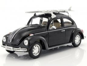 Volkswagen VW Beetle Hard Top with surfboard black 1:24 Welly