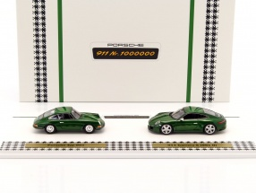 2-Car anniversary set of the millionth Porsche 911 (991 II) and Porsche Typ 901 green 1:43 Spark