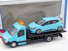 Renault Clio With Flatbed transporter light blue 1:43 Bburago