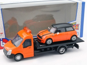Mini Cooper S with Flatbed transporter orange 1:43 Bburago