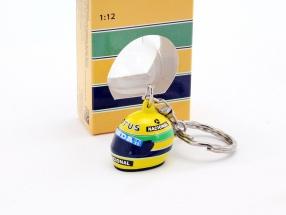 Ayrton Senna 3D Schlüsselanhänger Helm Formel 1 1987 1:12 Minichamps