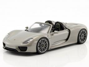 Porsche 918 Spyder Cabriolet silver grey metallic 1:18 Welly