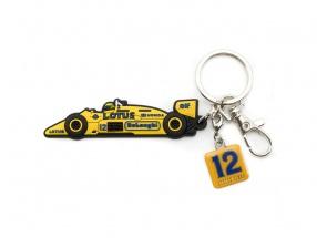 Ayrton Senna Schlüsselanhänger Lotus gelb / blau