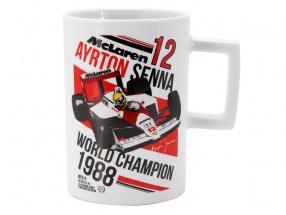 Ayrton Senna Tasse 3 Times World Champion weiß