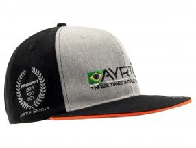 Ayrton Senna Cap #12 3 times World Champion schwarz / grau