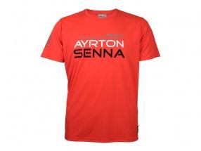 Ayrton Senna McLaren T-Shirt Three Times World Champion neon rot