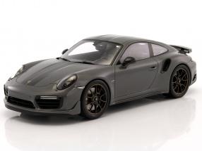 Porsche 911 (991) Turbo S Exclusiv Series gray / black with showcase 1:18 Spark