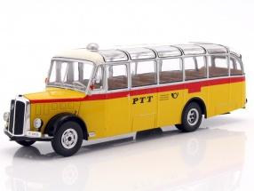 Saurer L4C Bus Baujahr 1959 gelb / rot / silber 1:43 Ixo