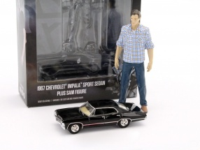 Set: Sam Figur 1:18 + Chevrolet Impala Sedan TV-Serie Supernatural 2005 schwarz 1:64 Greenlight
