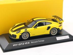 Porsche 911 (991 II) GT2 RS Weissach Package gelb / schwarz 1:43 Spark
