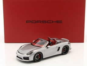 Porsche Boxster Spyder 981 year 2017 silver With Showcase 1:18 Spark