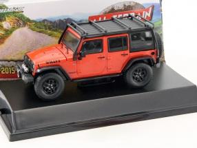 Jeep Wrangler Unlimited Baujahr 2015 orange / schwarz 1:43 Greenlight