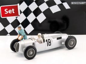 Set: Figutec Figur + Auto Union Typ C #18 Winner Eifelrennen 1936 Rosemeyer 1:18 Minichamps
