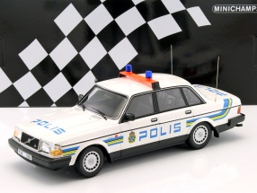 Volvo 240 GL Polizei Schweden Baujahr 1986 weiß 1:18 Minichamps