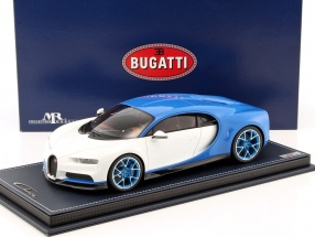 Bugatti Chiron blau / weiß mit Vitrine 1:18 MR Models
