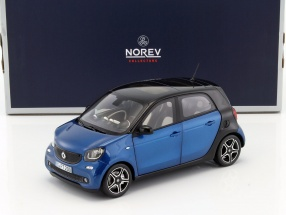 Smart Forfour Baujahr 2015 blau metallic / schwarz 1:18 Norev