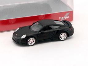 Porsche 911 (911) Turbo mattschwarz 1:87 Herpa