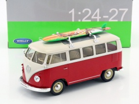 Volkswagen VW T1 Bus year 1963 with surfboard red / white 1:24 Welly