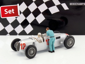 Set: Figutec figure   Auto Union Typ C #12 GP Budapest Formel 1 1936 Stuck 1:18 Minichamps