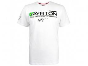 Ayrton Senna McLaren T-Shirt Three Times World Champion weiß