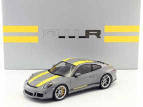 Porsche 911 (991) R nardo gray / yellow with showcase 1:18 Spark