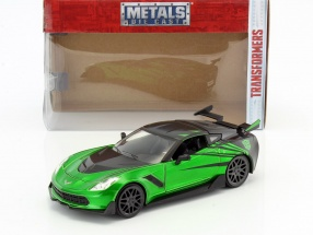 Chevrolet Corvette Stingray Crosshairs year 2016 Movie Transformers 5 green / black 1:24 Jada Toys