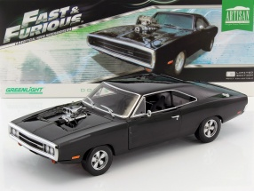 Doms Dodge Charger from the Movie Fast and Furious 2001 Construction year 1970 black 1:18 Greenlight