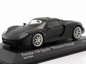 Porsche 918 Spyder Weissach-Package Baujahr 2015 matt schwarz 1:43 Minichamps