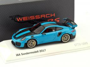 Porsche 911 (991 II) GT2 RS Weissach Package IAA 2017 Sondermodell blau 1:43 Spark