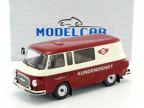 Barkas B1000 Halbbus Simson Customer service red / cream white 1:18 Model Car Group