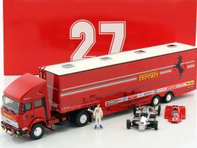 Set Renntransporter Fiat Iveco 190 and Ferrari 126C2 #27 San Marino GP F1 1982 1:43 Brumm