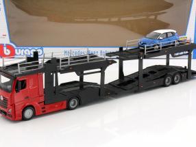 Mercedes-Benz Actros car transporter with Renault Captur red / black / blue / white 1:43 Bburago