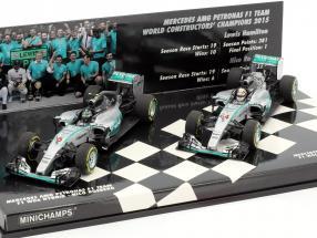 N. Rosberg #6 & L. Hamilton #44 Mercedes F1 W06 Hybrid 2-Car Set Formel 1 2015 1:43 Minichamps