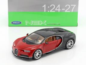 Bugatti Chiron year 2017 red / black 1:24 Welly