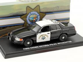 Ford Crown Victoria Police Interceptor Baujahr 2008 schwarz / weiß 1:43 Greenlight