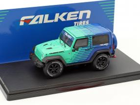 Jeep Wrangler Rubicon Falken Tires Baujahr 2014 blau / grün 1:43 Greenlight
