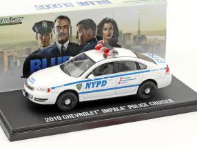 Chevrolet Impala Police Cruiser NYPD Baujahr 2010 TV-Serie Blue Bloods weiß / blau 1:43 Greenlight