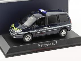 Peugeot 807 Gendarmerie Baujahr 2013 blau 1:43 Norev