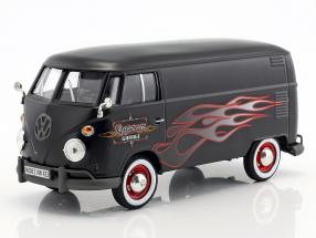 Volkswagen VW Type 2 T1 bus Custom Garage mat black with flames 1:24 MotorMax