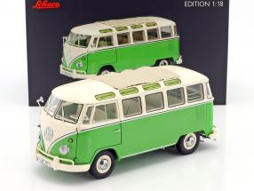 Volkswagen VW T1 Samba Bus year 1959-1963 green / white 1:18 Schuco