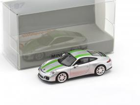 Porsche 911 (991) R year 2016 silver with green stripes 1:87 Minichamps
