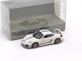 Porsche Cayman GT4 Construction year 2016 white with black stripes 1:87 Minichamps
