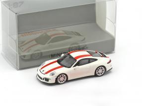 Porsche 911 (991) R Baujahr 2016 weiß mit roten Streifen 1:87 Minichamps