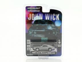 Ford Mustang Boss 429 Baujahr 1969 Film John Wick (2014) silber metallic 1:64 Greenlight