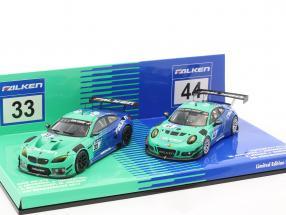 2-Car Set BMW M6 GT3 #33 & Porsche 911 GT3 R #44 Nürburgring 2017 Falken Motorsports 1:43 Minichamps