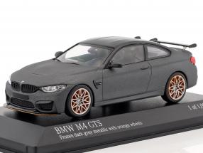 BMW M4 GTS year 2016 mat gray metallic with orange wheels 1:43 Minichamps