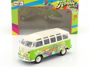 Volkswagen VW T1 Samba Bus Hippie Line Flower Power bright green / white 1:24 Maisto